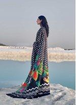 Abstract Print Satin Multi Colour Casual Saree