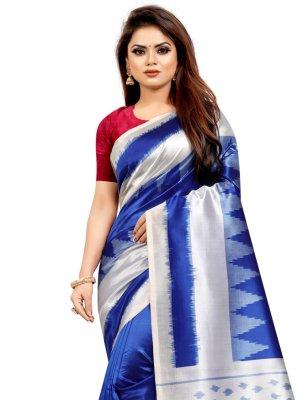 Abstract Print Silk Blue Traditional Saree