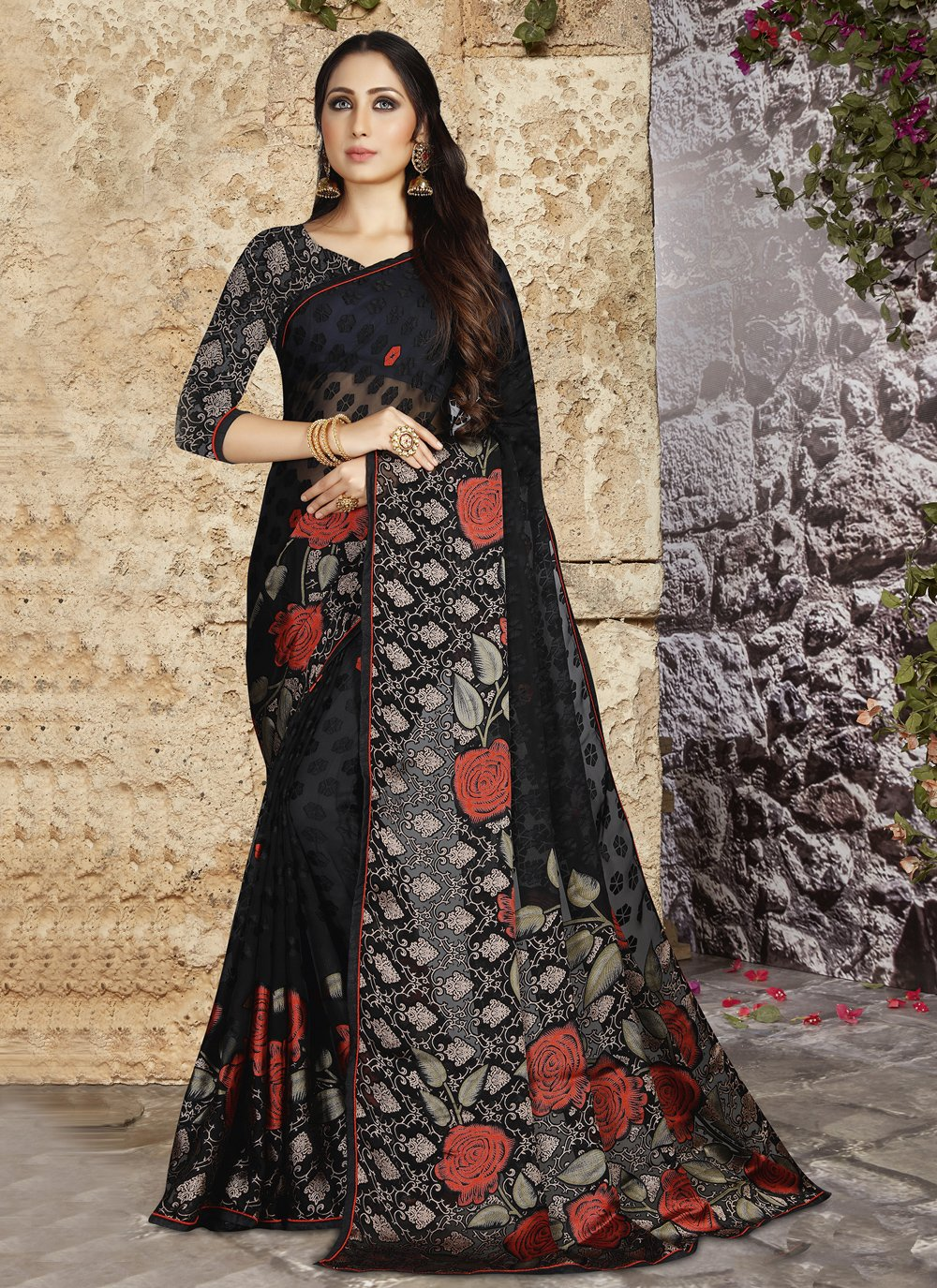Abstract Print  Tissue Brasso Printed Saree