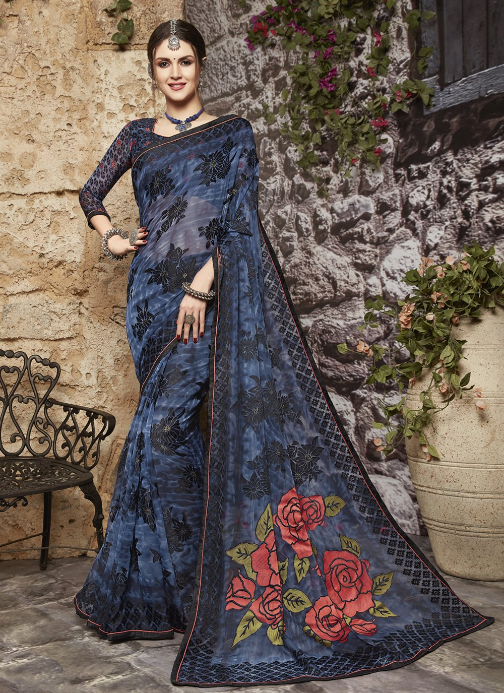 Abstract Print  Tissue Brasso Printed Saree in Blue
