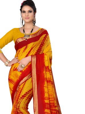 Abstract Print Yellow Printed Saree