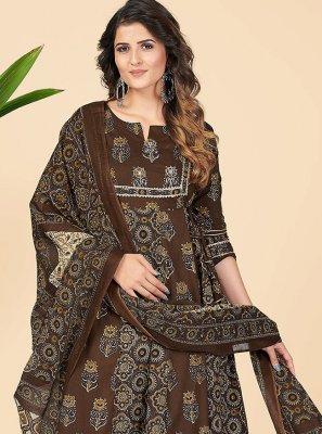 Anarkali Salwar Kameez Printed Cotton in Brown