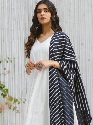 Anarkali Salwar Kameez Printed Rayon in Off White