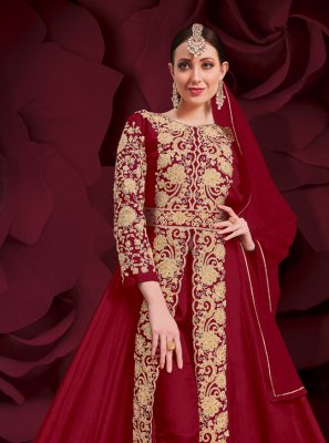 Anarkali Suit Embroidered Faux Georgette in Red