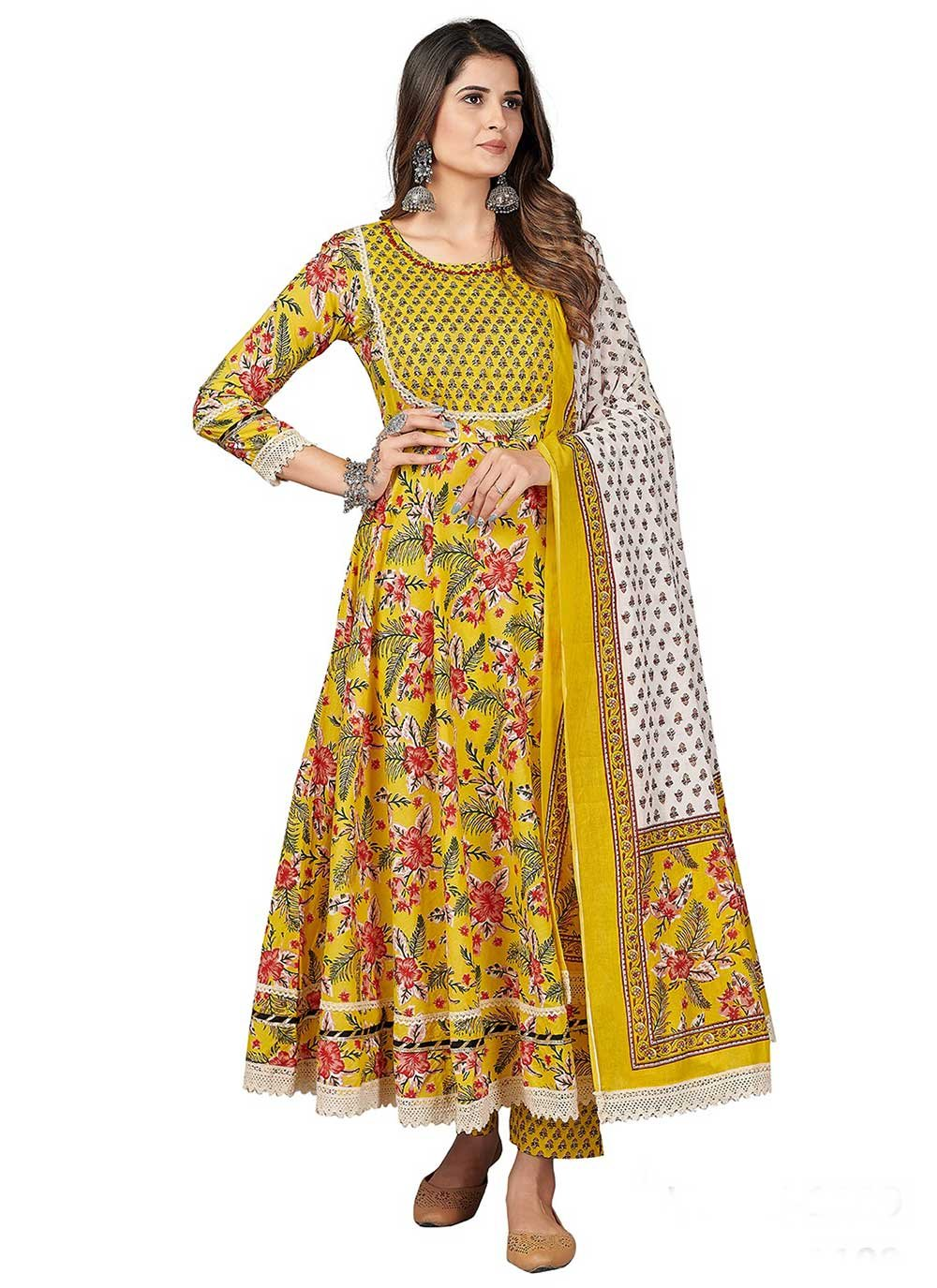 Anarkali Suit Print Cotton in Yellow