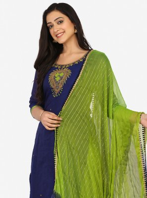 Aqua Blue and Blue Embroidered Party Patiala Suit