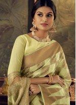 Aqua Blue and Green Silk Engagement Traditional Designer Saree