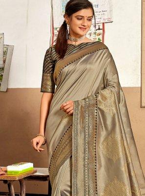 Aqua Blue and Grey Weaving Designer Traditional Saree