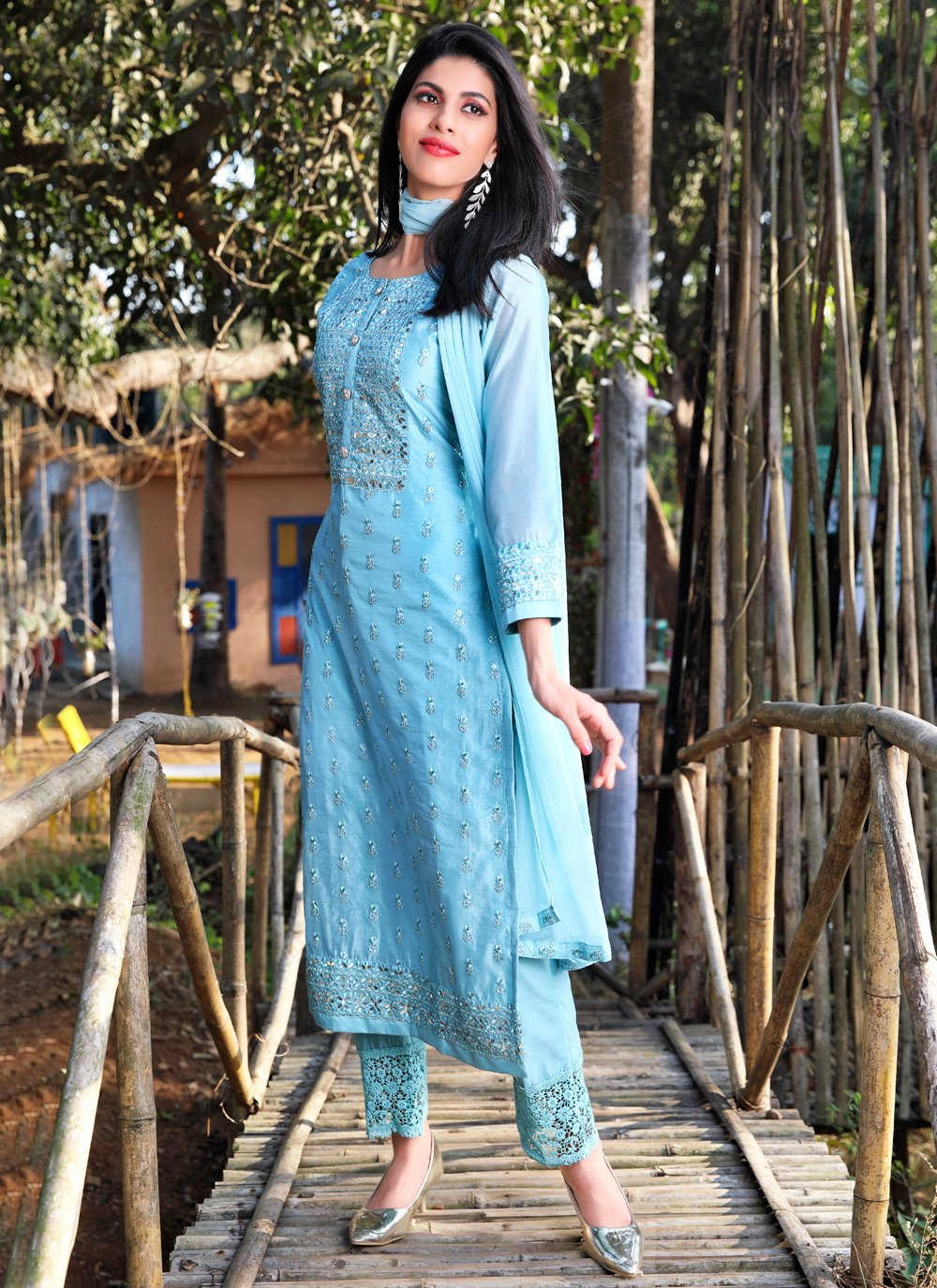 Aqua Blue Art Silk Festival Readymade Suit