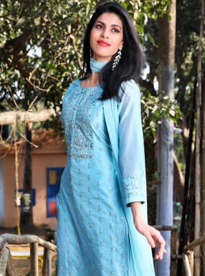 Aqua Blue Art Silk Festival Readymade Suit