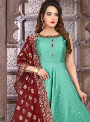 Aqua Blue Art Silk Floor Length Anarkali Suit
