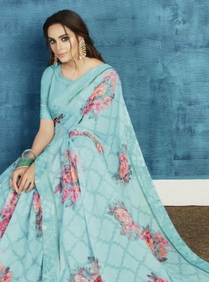 Aqua Blue Ceremonial Contemporary Saree