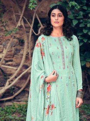 Aqua Blue Color Designer Pakistani Suit