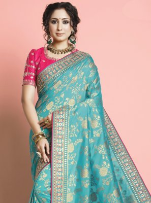 Aqua Blue Color Traditional Designer Saree