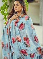 Aqua Blue Color Traditional Saree