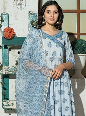 Aqua Blue Color Trendy Anarkali Salwar Suit
