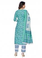 Aqua Blue Cotton Printed Readymade Suit