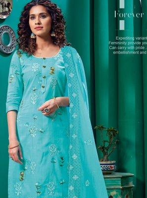 Aqua Blue Cotton Sangeet Churidar Designer Suit