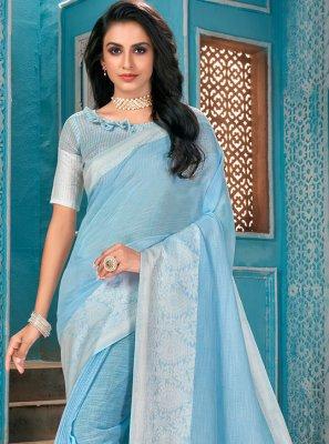 Aqua Blue Designer Traditional Saree