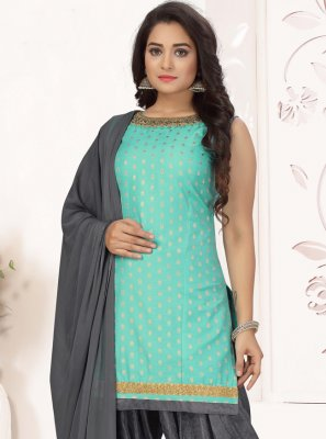 Aqua Blue Embroidered Chanderi Readymade Suit