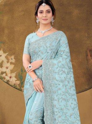 Aqua Blue Embroidered Classic Designer Saree