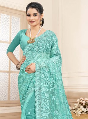 Aqua Blue Embroidered Net Bollywood Saree