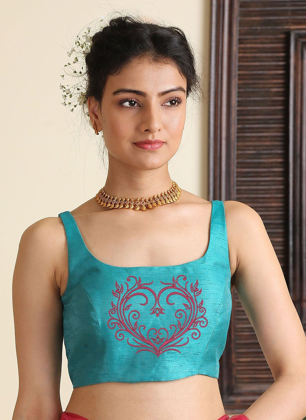 Aqua Blue Embroidered Party Blouse