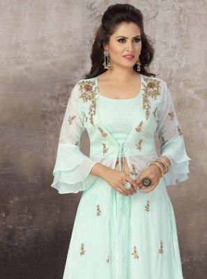 Aqua Blue Embroidered Sangeet Readymade Lehenga Choli