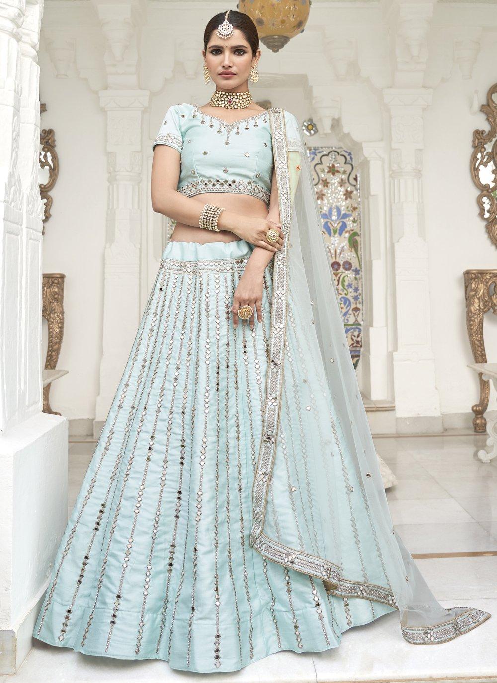 Aqua Blue Embroidered Silk Trendy Lehenga Choli