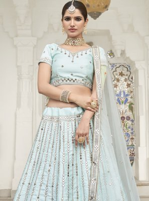 Aqua Blue Embroidered Silk Trendy Lehenga Choli