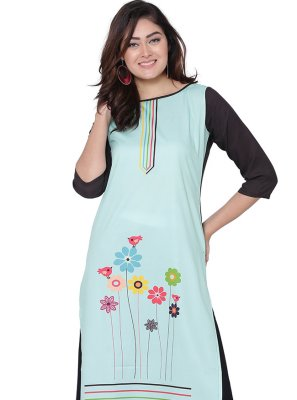 Aqua Blue Faux Crepe Print Party Wear Kurti