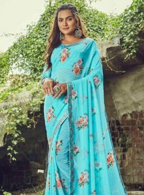 Aqua Blue Floral Print Festival Classic Saree