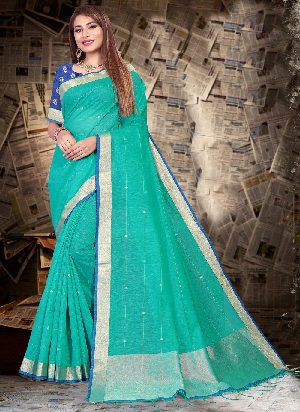 Aqua Blue Linen Contemporary Saree