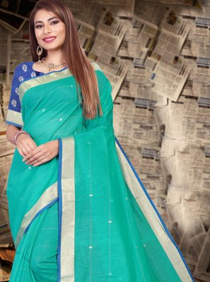 Aqua Blue Linen Contemporary Saree