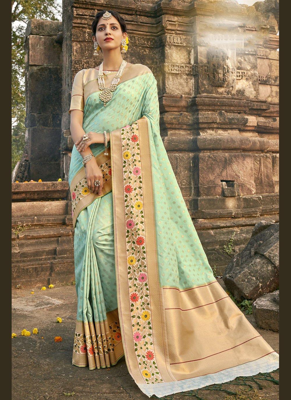 Aqua Blue Mehndi Designer Traditional Saree