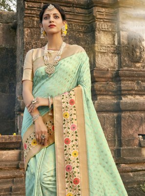 Aqua Blue Mehndi Designer Traditional Saree