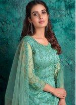 Aqua Blue Net Fancy Designer Pakistani Suit