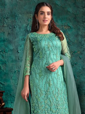Aqua Blue Net Fancy Designer Pakistani Suit