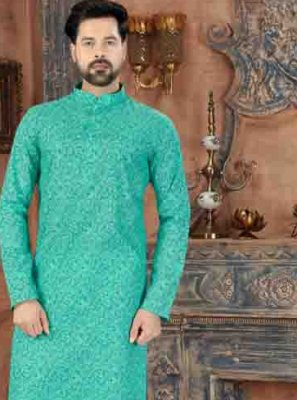 Aqua Blue Party Kurta Pyjama