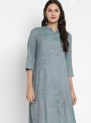 Aqua Blue Party Wear Kurti