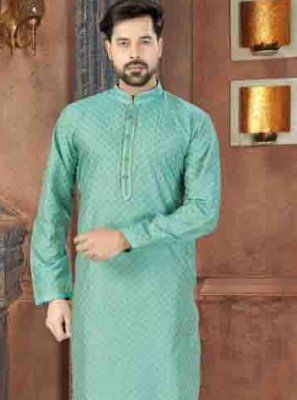 Aqua Blue Plain Engagement Kurta Pyjama