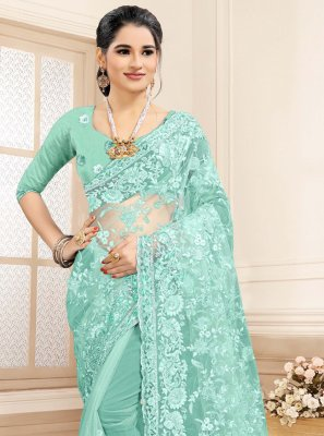 Aqua Blue Resham Festival Traditional Saree