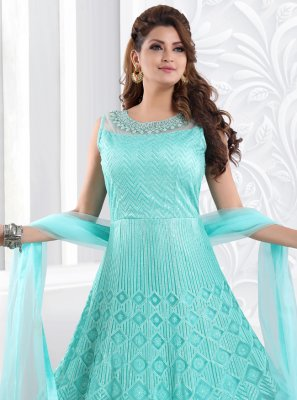 Aqua Blue Resham Floor Length Anarkali Suit