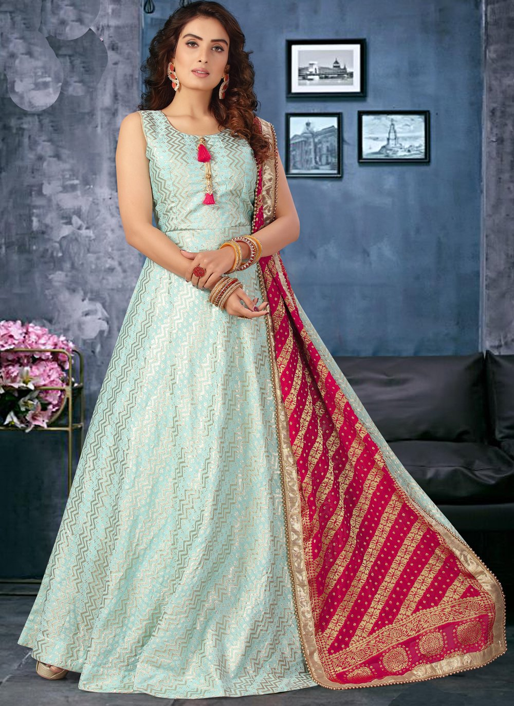 Aqua Blue Sangeet Silk Floor Length Anarkali Suit