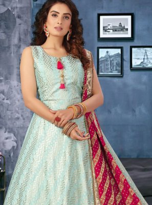 Aqua Blue Sangeet Silk Floor Length Anarkali Suit