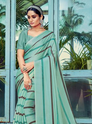 Aqua Blue Stripe Print Printed Saree