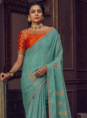 Aqua Blue Thread Work Festival Classic Designer Saree