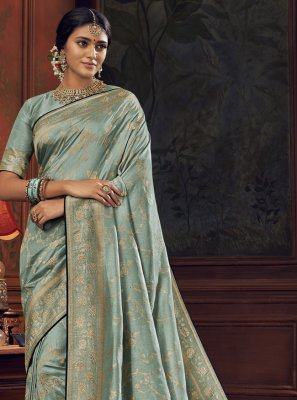 Aqua Blue Traditional Saree