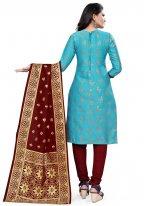 Aqua Blue Weaving Banarasi Silk Churidar Designer Suit