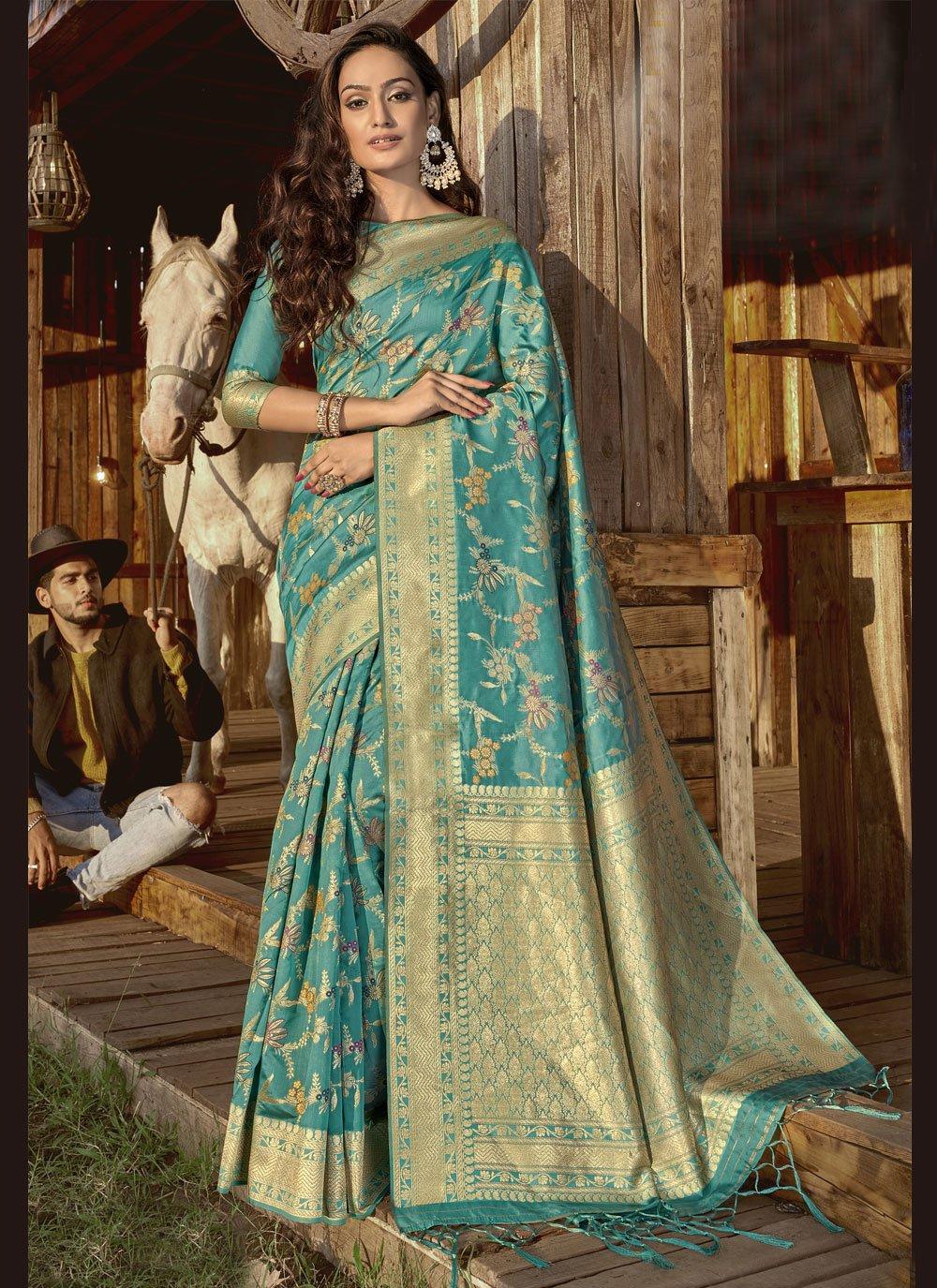 Aqua Blue Weaving Designer Traditional Saree